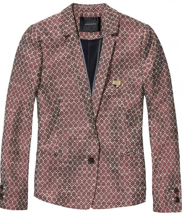 Maison scotch veste jacquard rétro rouge.jpg