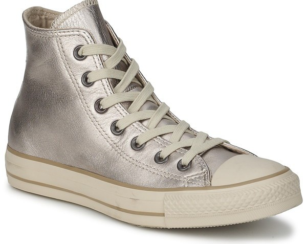 converse cuir argent